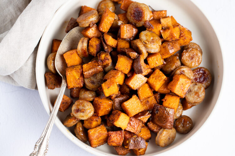This flavorful Glazed Chicken Apple Sausage and Sweet Potato is a super satisfying lunch or dinner!