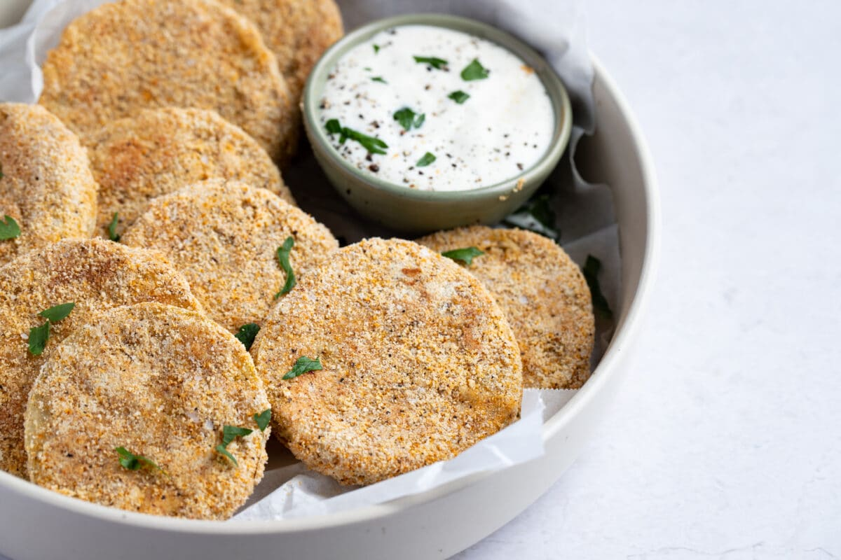 Our Healthy Fried Green Tomatoes are the perfect party appetizer.