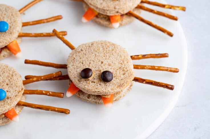 These cute and spooky Mini Spider Sandwiches are a fun food to make with the kids.